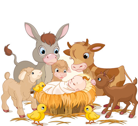 Illustration pour Holy child with donkey, lambs, goat and calf - image libre de droit