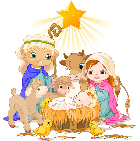 Illustration for Christmas nativity scene with holy family   - Royalty Free Image