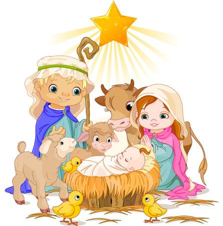 Illustration pour Christmas nativity scene with holy family   - image libre de droit