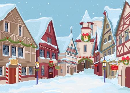 Illustration pour Christmas town street at winter day - image libre de droit