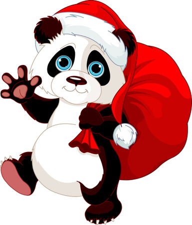 Illustration pour Cute Panda with a sack full of gifts  - image libre de droit