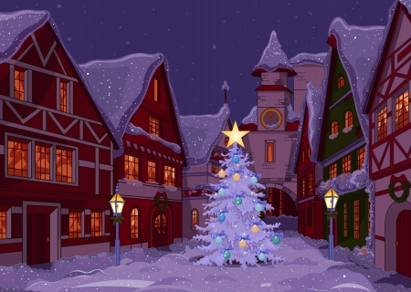 Illustration pour Christmas town street at night - image libre de droit