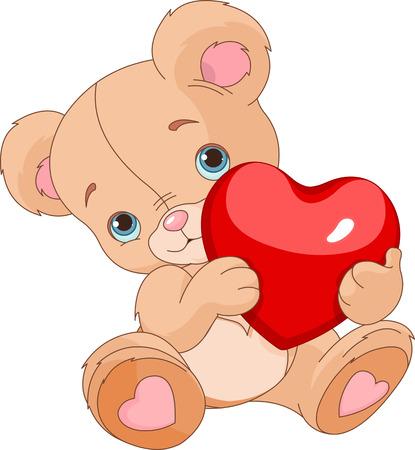 Illustration pour  Valentines Teddy Bear holding love heart - image libre de droit