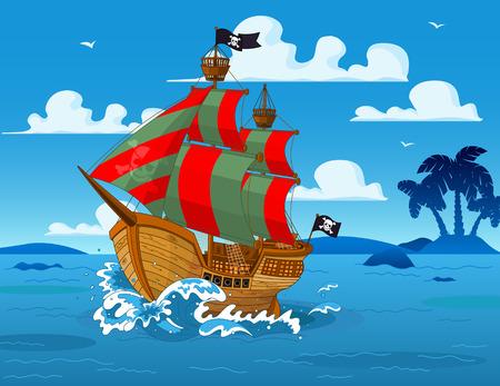 Illustration pour Pirate ship sails the seas - image libre de droit