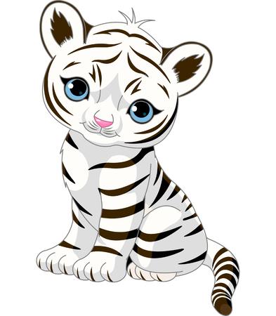 Photo pour A cute character of sitting white tiger cub. - image libre de droit