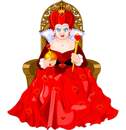 Illustration for  Angry Queen of Hearts on throne - Royalty Free Image