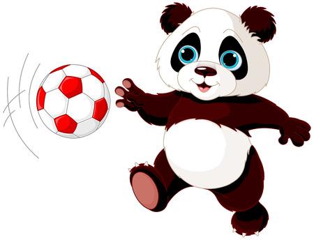 Illustration pour Illustration of panda cub playing soccer - image libre de droit