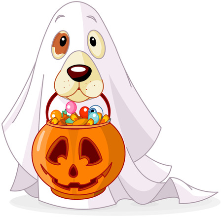 Illustrazione per Halloween costumed dog holds pumpkin bag full candy  - Immagini Royalty Free