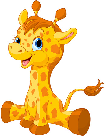 Illustration pour Illustration of little cute giraffe calf - image libre de droit