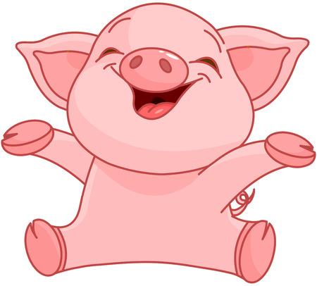 Ilustración de Illustration of very cute piggy  - Imagen libre de derechos