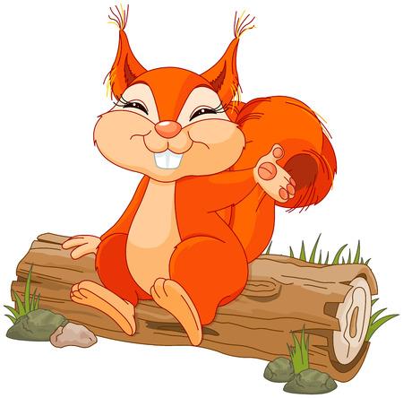 Illustration pour Illustration of cute squirrel sitting on a log - image libre de droit
