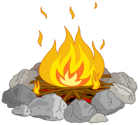 Illustration for Illustration of flame into fire pit - Royalty Free Image
