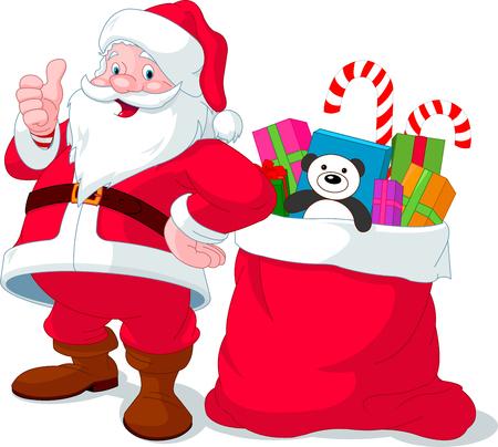 Illustration pour Santa Claus giving thumb up near sack full of gifts - image libre de droit