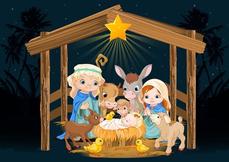 Ilustración de Christmas nativity scene with holy family - Imagen libre de derechos
