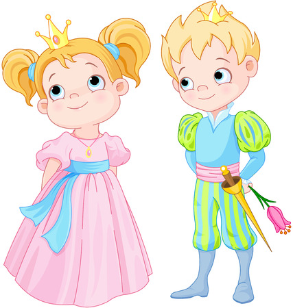 Illustration for Illustration of very cute Prince and Princess - Royalty Free Image