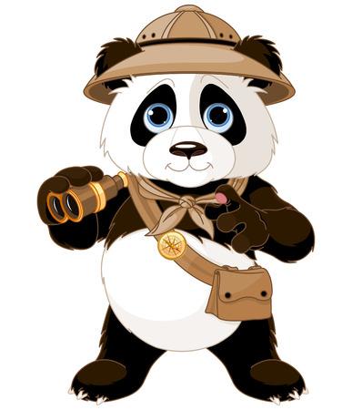 Illustration pour Panda  safari explorer with binoculars - image libre de droit