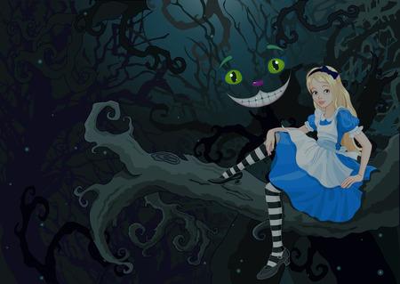 Ilustración de Alice sitting on a branch on the Wonder forest - Imagen libre de derechos