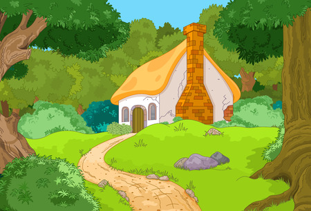 Illustration pour Rural Cartoon Forest Cabin Landscape - image libre de droit