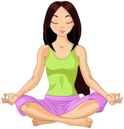 Ilustración de Beautiful girl doing yoga meditation - Imagen libre de derechos