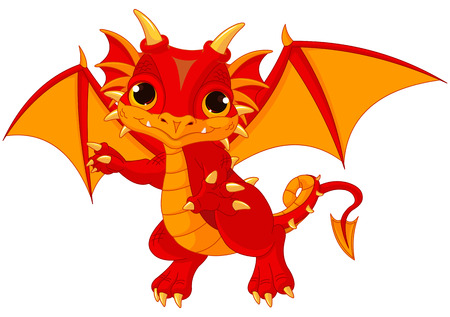 Ilustración de Illustration of cute cartoon baby dragon - Imagen libre de derechos