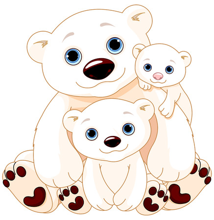 Foto de Illustration of Mommy and Daddy bears with their babies - Imagen libre de derechos