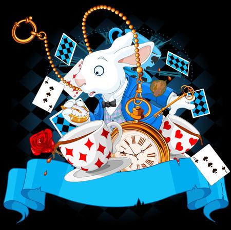Illustration pour Illustration of wonderland bunny with design elements - image libre de droit