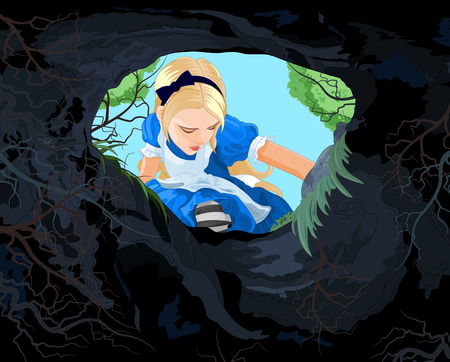 Illustration pour Illustration of Alice looking to the hare hole - image libre de droit