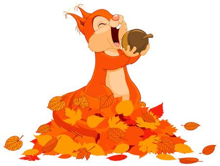 Illustration pour Illustration of cute squirrel eats nut on pile of leaves - image libre de droit