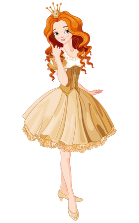 Illustration for Illustration of beautiful princess dressed gold gown - Royalty Free Image