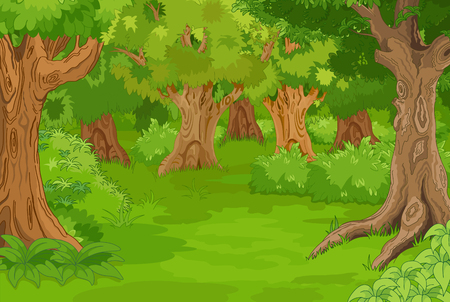 Illustration pour Illustration of amazing forest glade - image libre de droit