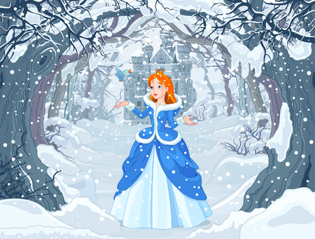 Illustration for Illustration of princess with bird close to Magic Winter Castle - Royalty Free Image