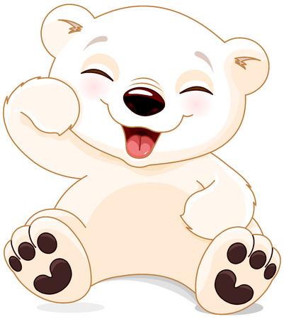 Illustration pour Illustration of cute polar bear is laughing - image libre de droit