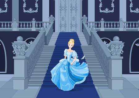 Illustration pour Illustration of girl with gown runs away - image libre de droit