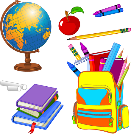 Illustration pour Colorful set of school supplies - image libre de droit