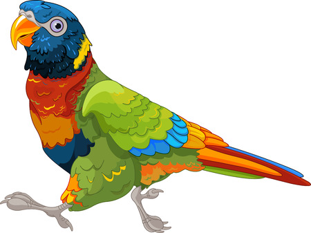 Illustration for Illustration of running Lory Parrot - Royalty Free Image