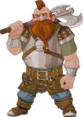 Illustration pour Fantasy style Dwarf with axe - image libre de droit