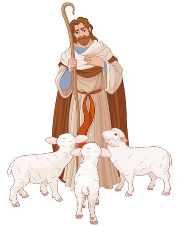 Ilustración de Illustration of Jesus Christ is the good shepherd - Imagen libre de derechos