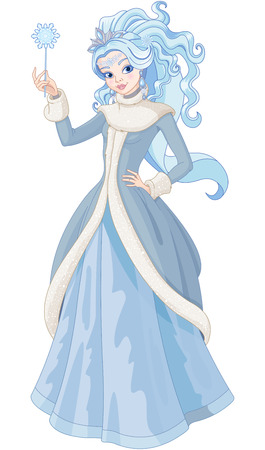 Illustration for Illustration of Snow Queen holding magic wand - Royalty Free Image