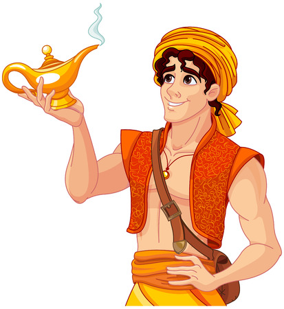 Illustrazione per Aladdin holds his magic lamp - Immagini Royalty Free