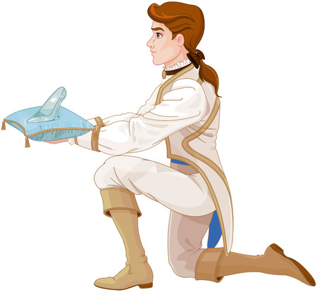 Illustration for Prince presents a glass slipper - Royalty Free Image