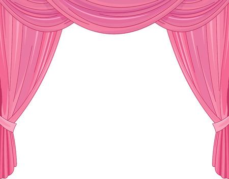 Ilustración de Pink curtains on a white background - Imagen libre de derechos