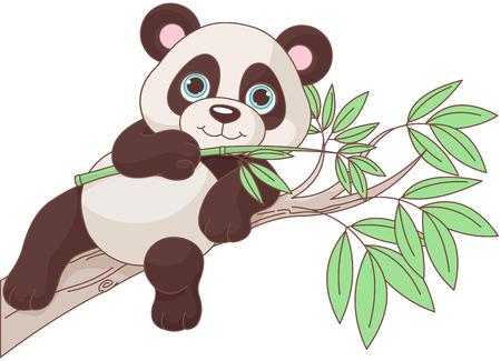 Illustration pour Illustration of cute panda is sitting on a branch - image libre de droit