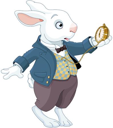 Illustration pour Illustration of white rabbit holds watch - image libre de droit