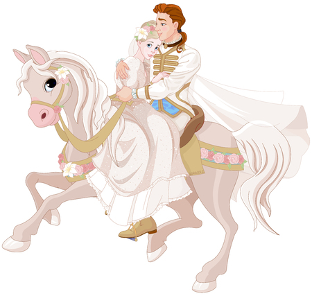 Illustration for Illustration of princess and prince riding a horse after wedding. - Royalty Free Image