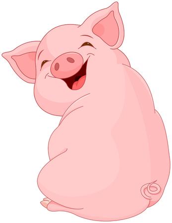 Illustrazione per Illustration of cute pretty pig  - Immagini Royalty Free