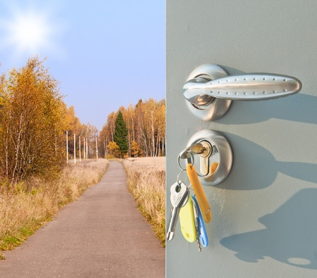 Photo for Open the door handle and keys - Royalty Free Image
