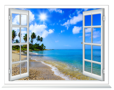 Photo for beach view from the window on the island of sunny summer day - Royalty Free Image