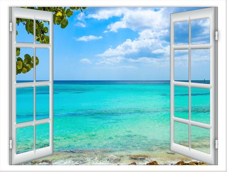 Photo pour open window view of the sea good weather summer - image libre de droit