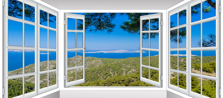 Photo for nature landscape with a view through a window with curtains - Royalty Free Image