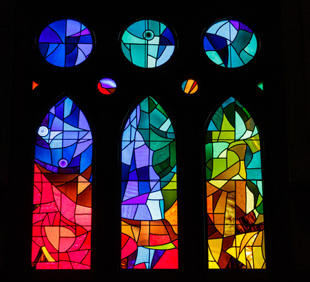 Foto de Modern Stained Glass in an old Spanish Church - Imagen libre de derechos